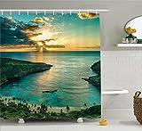 Ambesonne Hawaiian Decorations Shower Curtain Set, Sunrise Over Hanauma Bay On Oahu, Hawaii Sunbeams Through Dark Clouds Shoreline, Bathroom Accessories, 84 Inches Extralong