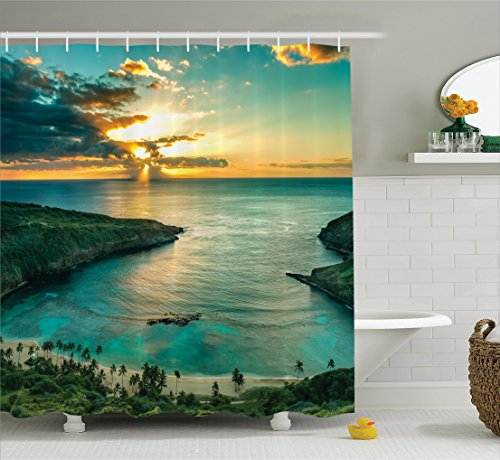(Ambesonne Hawaiian Decorations Shower Curtain Set, Sunrise Over Hanauma Bay On Oahu, Hawaii Sunbeams Through Dark Clouds Shoreline, Bathroom Accessories, 84 Inches)