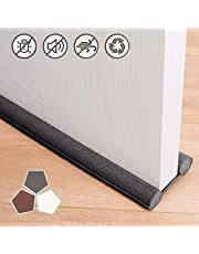 Under Door Draft Stopper 37 Inches Cuttable and Washable,Twin Door Draft Stopper,Energy Saving Door Weather Stripping Reduce Noise Window Breeze Blocker Adjustable Door Sweeps,Gray