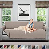 Sofa Shield Original Patent Pending Reversible Oversize Sofa Slipcover, Dogs, 2' Strap/Hook, Seat Width Up to 78' Washable Furniture Protector, Couch Slip Cover (Oversize Sofa: Lt Taupe/Lt Taupe)