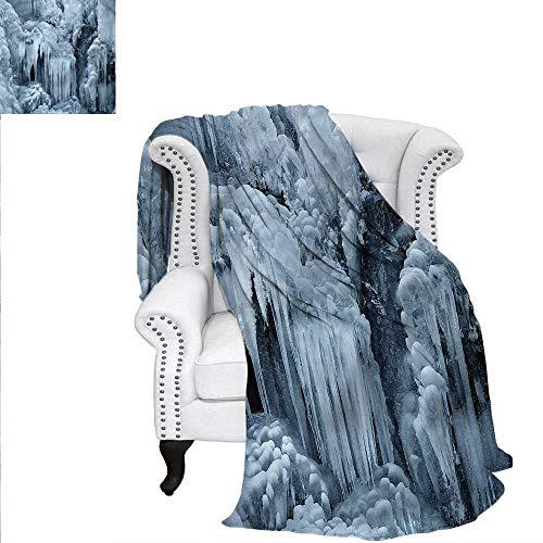Waterfall Travel Throw Blanket Winter Frozen Rocks Photo Weave PatternBlanket 50