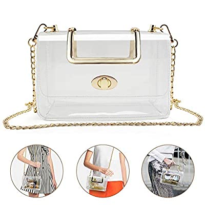 Clear Purse for Women/Girls, Coromay Clear Crossbody Bag NFL & PGA Stadium Approved, Clear Gameday Purse with Removable Golden Chain Strap, Fashionable Design and Fits Many Occasions 7.1x4.5x3.1 inch