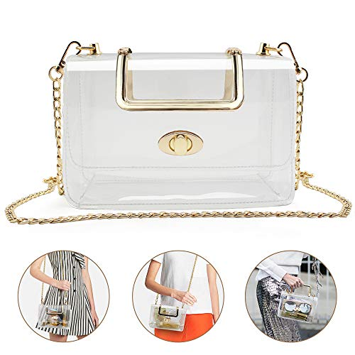 Clear Purse for Women/Girls, Coromay Clear Crossbody Bag NFL & PGA Stadium Approved, Clear Gameday Purse with Removable Golden Chain Strap, Fashionable Design and Fits Many Occasions 7.1x4.5x3.1 - Girls Handbag Women Bag