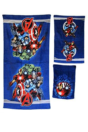 3 Pieces Disney Pixar 100% Cotton Bath, Hand, and Fingertip Towel Sets (Avengers)