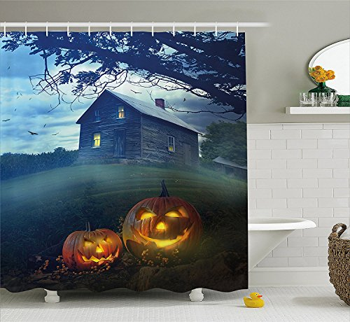 [Halloween Decorations Collection RusticWooden Haunted House Landscape in Misty Valley with Scary Pumpkins in the Dawn Polyester Fabric Bathroom Shower Curtain Set with Hooks] (The Pope Costume At The White House)