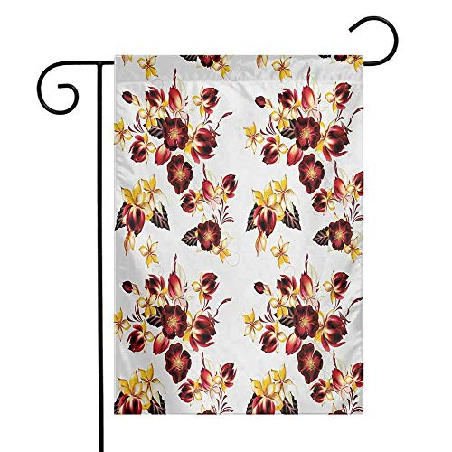 Mannwarehouse Flowers Garden Flag Bouquets with Old Fashioned Wildflowers Retro Style Bridal Corsage Design Premium Material W12 x L18 Yellow and Burgundy