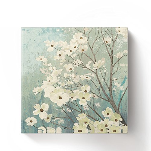 (Chucoco Oil Paintings on Canvas Flowering Dogwood Blossoms Art Abstract Wall Art Print with Framed Ready to Hang, Living Room Kitchen Bedroom Home Decorations 16x16 inch)