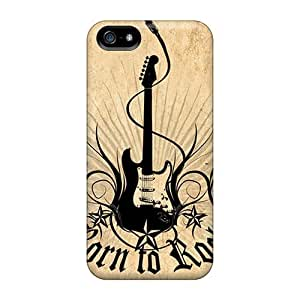 Iphone 5/5s Case Cover - Slim Fit Tpu Protector Shock Absorbent Case (born To Rock)
