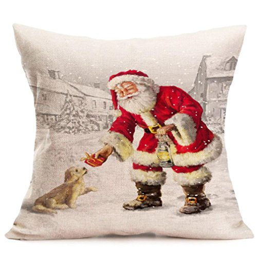 Christmas Pillow Cover 18x18, FreshZone Christmas Santa Claus Decoration Festival Pillow Case Cushion Cover (Xmas Gift E) (Santa Claus Pitcher)