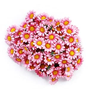 MXXGMYJ 100Pcs Artificial Flowers Wholesale Fake Flowers Heads Gerbera Daisy Silk Flower Heads Sunflowers Sun Flower Heads for Wedding Party Flowers Decorations Home D¨¦cor Light Pink 103