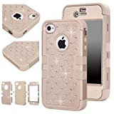 iphone 4s case bling crystal - Majesticase iPhone 4/4S Case - 3 Layers Diamante Bling Crystals Full Body Hybrid Armor Protection Cover + FREE Stylus in Gold