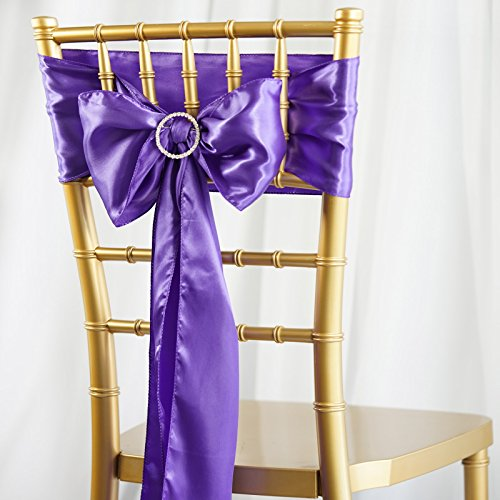 (BalsaCircle 100 Purple Satin Chair Sashes Bows Ties for Wedding Decorations Party Supplies Events Chair Covers Decor Banquet Reception)