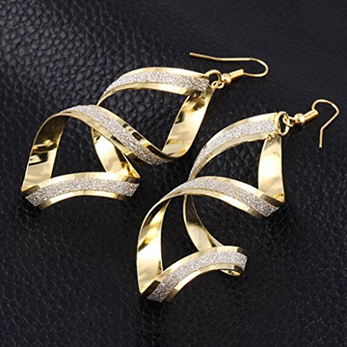 Clearance! Elogoog Jewelry 1Pair Fashion Women Matte Cross Dangle Gold Loop Earings (Gold) by Elogoog (Image #1)