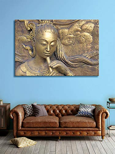 999Store Indian Art Lady Play Flute Wall Painting  Canvas_36X54Inch_Golden  FLP36540340