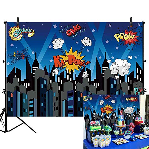 Allenjoy 7x5ft Superhero Cityscape Photography Backdrop 1st First Birthday Banner Super Hero Party Supplies Kids Children Boys Baby Shower Cartoon Boom Bang Background Party Event Decorations