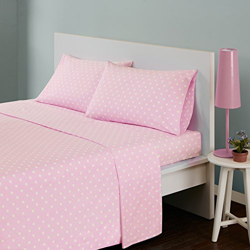 Polka Dot Twin Bed Sheets , Casual 100% Cotton Bed Sheet , Aqua Bed Sheet Set 3-Piece Include Flat Sheet , Fitted Sheet & 2 Pillowcases -