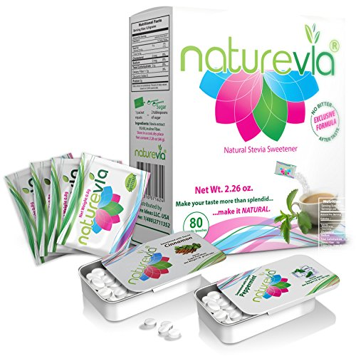 Stevia Naturevia Prebiotic Sweeteener |Natural Sweetener with Inulin, No Dextrose,No Erythitol -80 packs + 1 Sugar Free Mints with stevia (peppermint or (Candy Packets)