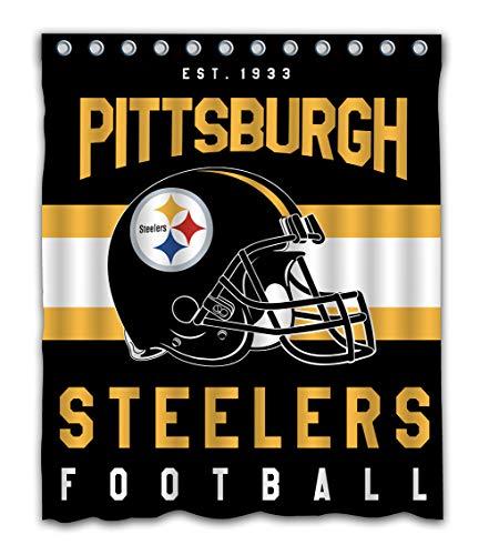 Weckim Custom Pittsburgh Football Team Waterproof Fabric Shower Curtain Colorful Design for Bathroom Decor 12 Holes Size 60x72 Inches - Curtain Bathroom Shower Team