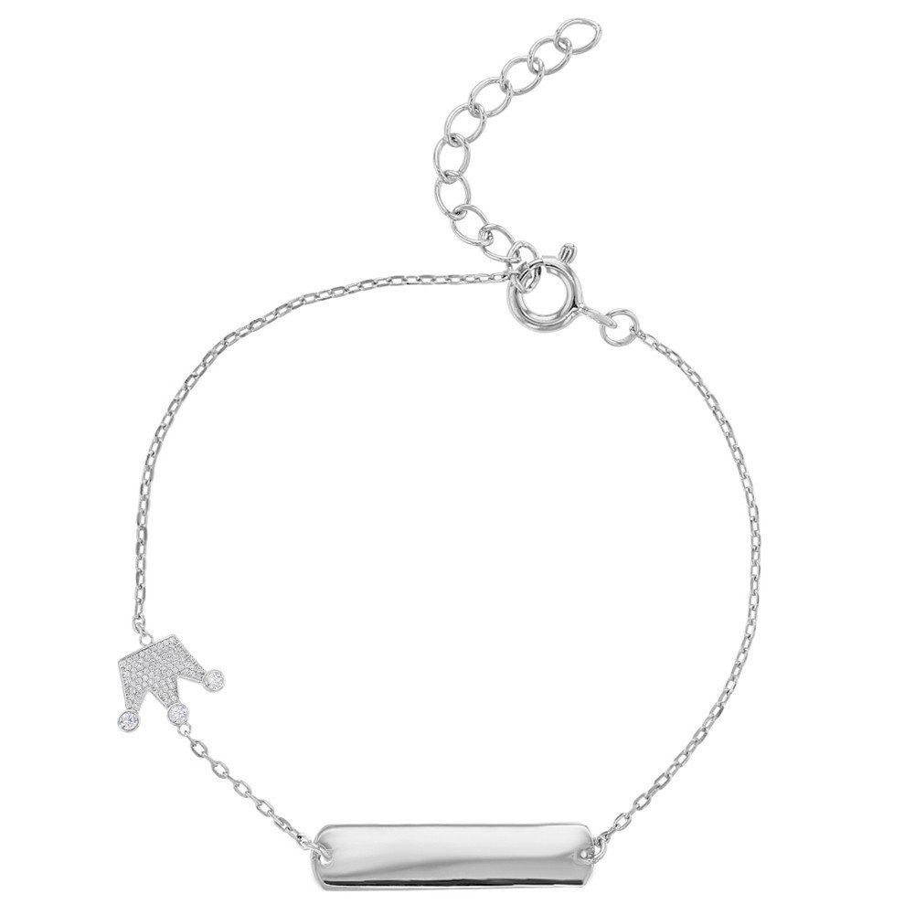 925 Sterling Silver ID Bracelet Identification Tag Clear CZ Crown for Girls 5