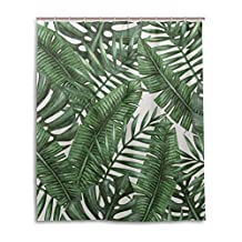 """SUABO Polyester Waterproof Fabric Shower Curtain Decorative Bathroom Curtain with 12 Hooks 60""""(w) x 72""""(h) Inch, Palm Tree Leaves Pattern"""