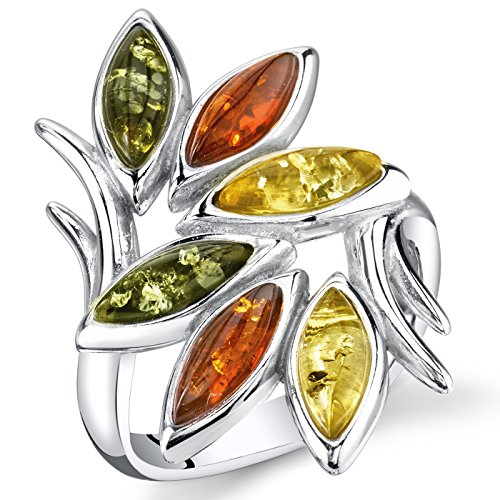 Baltic Amber Leaf Branch Ring Sterling Silver Multiple Colors Size 7