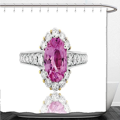 Interestlee Shower Curtain pink ruby ring and diamond in gold wedding jewelry 548761195 (Ruby Trellis Ring)