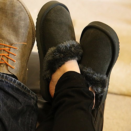 Valdaora Lined Grey Suede Fur Shoes Ladies Dude Women's Ash Slipper A7wEgAZx