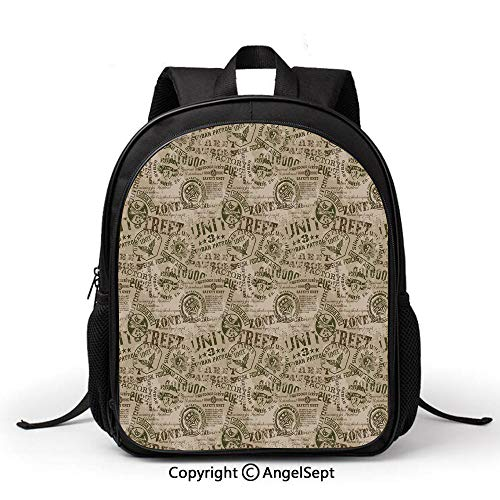 - Book Bag Durable School Bags,Grunge,Nostalgic Military Pins from Different Countries Uniform Army Style Graphic Decorative,Tan Army Green,Student Backpack Bookbags for Children