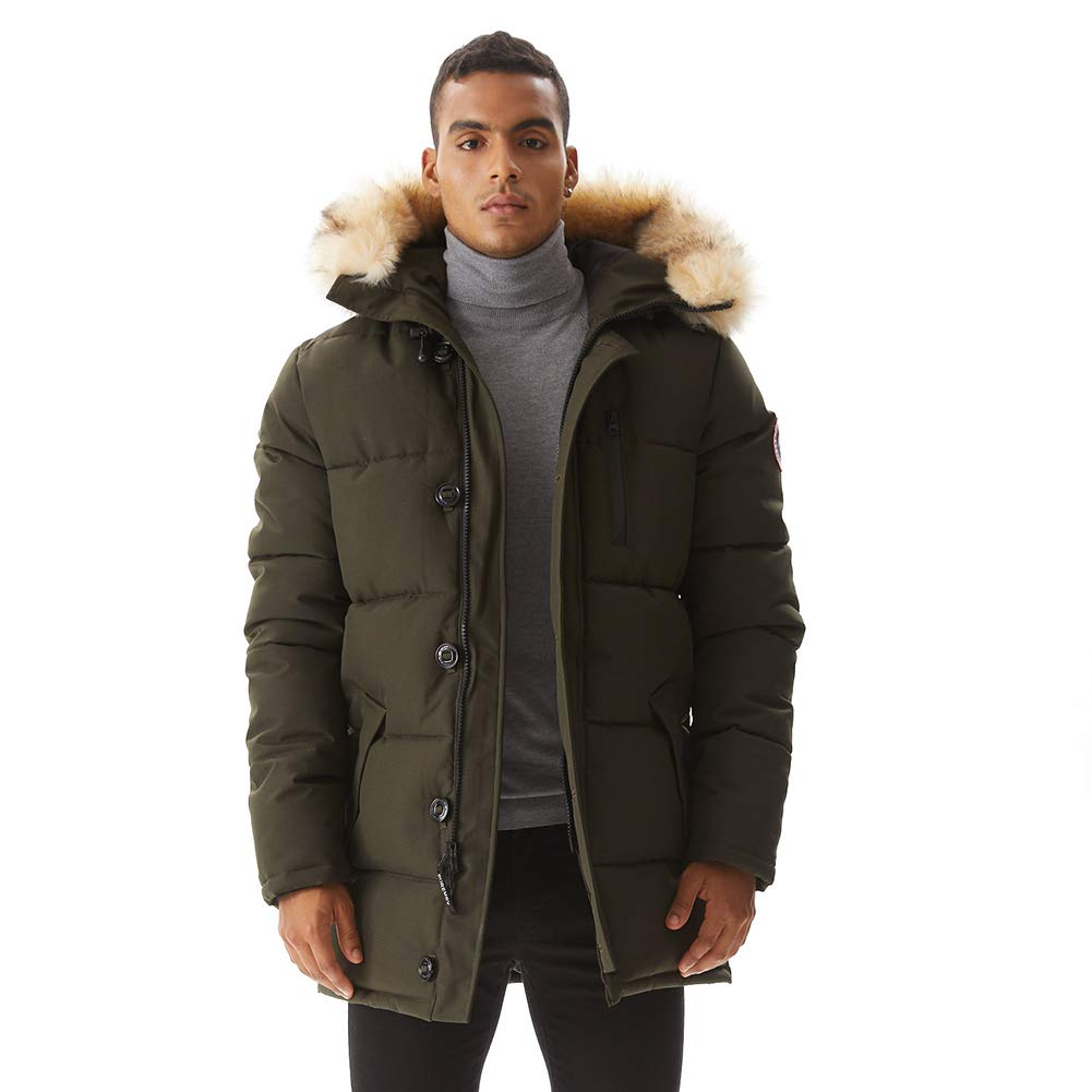 PUREMSX Mens Winter Jacket, Extremely Thicken Quilted Fur Hooded Long Anorak Parka Padded Coat 12 Colors
