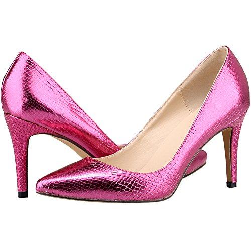 Loslandifen Scarpe Da Donna Eleganti Scarpe A Punta Slip On Stiletto Scarpe Con Tacco Alto Rosa