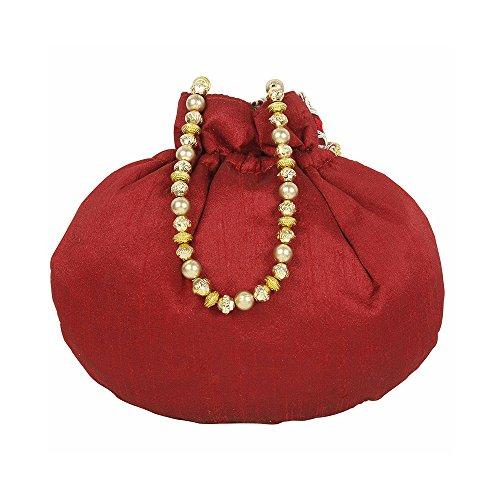 brodée Collection ethnique Sac la à Potli Couleur Maroon traditionnel femme à pour fête mariage main main de de wwRvFq