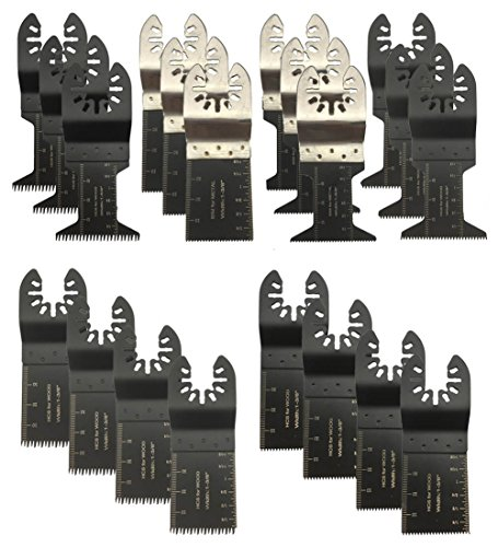 BaiFM 20PCS Wood/Metal Oscillating Multitool Quick Release Saw Blades Fit Fein Multimaster Porter Cable Black & Decker Bosch Dremel Craftsman Ridgid Ryobi Makita Milwaukee Dewalt Rockwell (Best 80 Lower Jig)