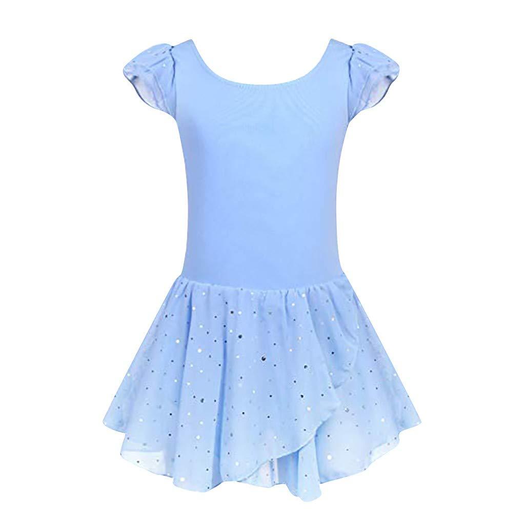 Girls Ruffle Sleeve Ballet Tutu Skirted Short Sleeve Dance Glitter Sequin Tutu Dress Leotard Activewear