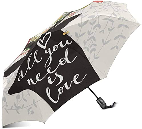 InterestPrint Custom Yellow Blooming Floral Anti Sun UV Foldable Travel Compact Umbrella