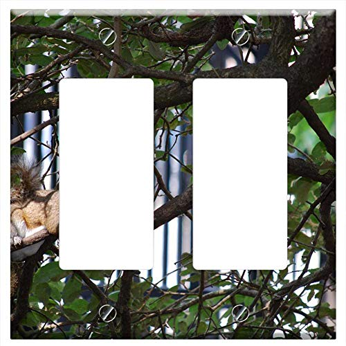Switch Plate Double Rocker/GFCI - Tree Nature Wildlife Outdoors Wood Animal Branch