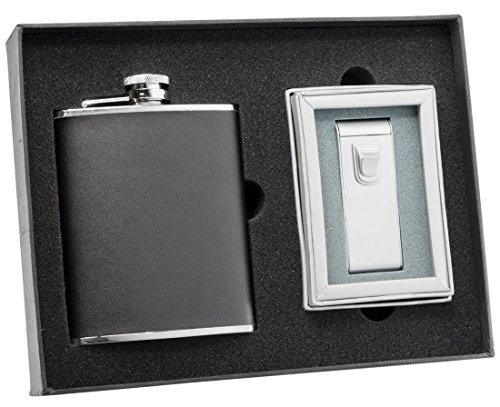 Flask Cigar Lighter (Visol Ano Black Leather Flask and Maximus Matte Chrome Torch Flame Cigar Lighter Set)