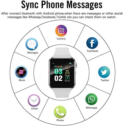 321OU Smart Watch Compatible iOS Android iPhone Samsung for Women Men, Make/Answer Calls Support Bluetooth Touchscreen Sport Watch Fitness Tracker with Pedometer Camera (White) 51N0Ium4d0L