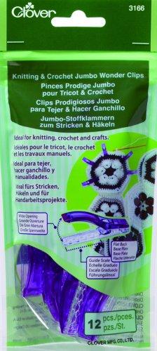 Clover 3166 Knitting and Crochet Jumbo Wonder Clips, Purple, 12 Per Package