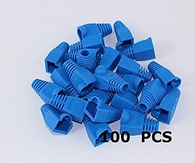Generic 100 PCS 8P8C RJ45 CAT5 CAT5E CAT6 RJ45 Ethernet Network Cable Adapter Boot Plug Cap Cover Strain Relief Boots – Blue