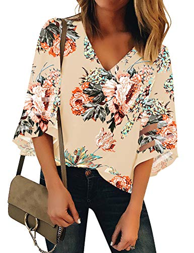 Luyeess Women's Casual V Neck Loose Mesh Panel Chiffon 3/4 Bell Sleeve Blouse Top Shirt Tee Dark Apricot Floral, Size M(US 8-10)
