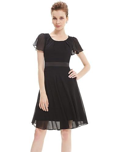 Ever Pretty Round Neckline Sleeve Ruched Short Casual Wear to Work Dress 03990