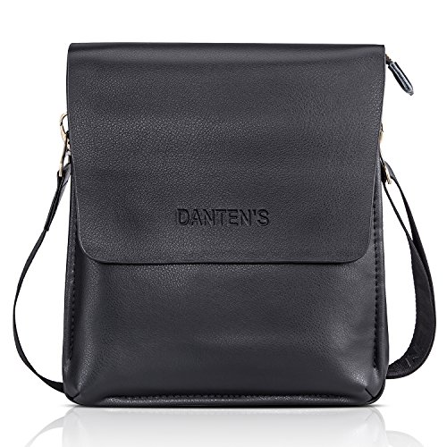 Vertical Leather Bag (Bienna Men Bags Crossbody Shoulder Bag Black Genuine Leather Business Messenger Bag for Work Travel Office-Vertical)