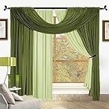 Bella 4 Piece Window Set (Sage & Green)
