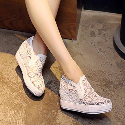 Chaussures Tige Automne Talons Bouche La Et escarpins Profonde Maille D'étudiant Respirant Blanc Hauteur en Intérieur Hauts Augmenter Printemps nbsp; aEnqgxCwA