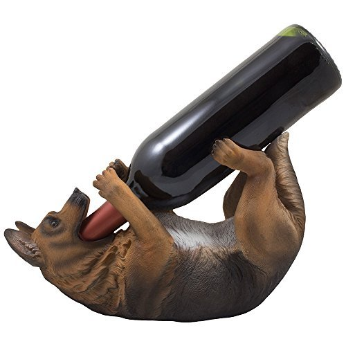 (Drinking German Shepherd Dog Wine Bottle Holder Decorative Display Stand Statue Pet Décor Gifts for Dog Owners)