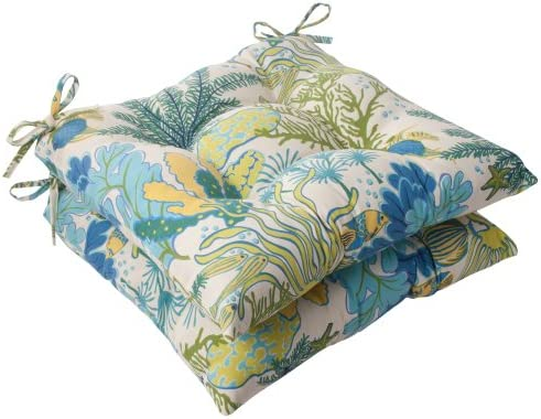 Pillow Perfect Outdoor Indoor Splish Splash Marina Tufted Seat Cushions Square Back , 19 x 18.5 , Multicolored, 2 Pack