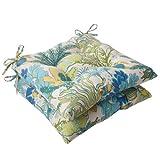 Cheap Pillow Perfect Indoor/Outdoor Splish Splash Tufted Seat Cushion, Blue, Set of 2
