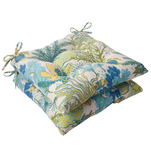 Pillow Perfect Outdoor Splish Splash Tufted Seat Cushion, Blue, Set of 2