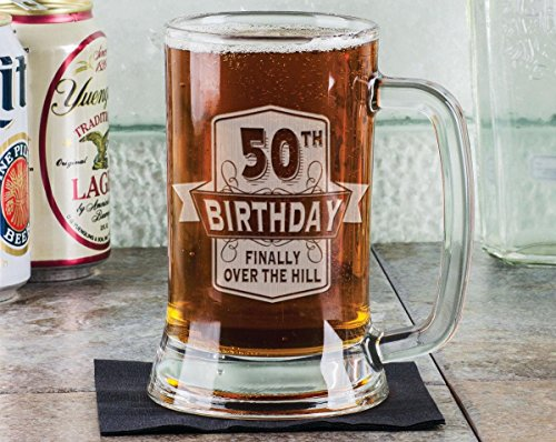 glass 50th birthday beer mug - 5