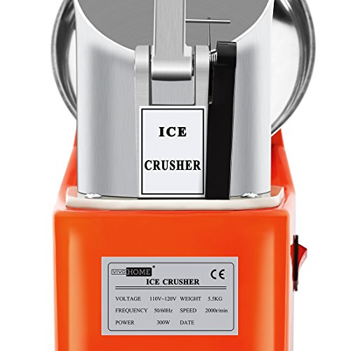 VIVOHOME Electric Ice Crusher Shaver Snow Cone Maker Machine Orange 143lbs/hr for Home and Commerical Use by VIVOHOME (Image #1)